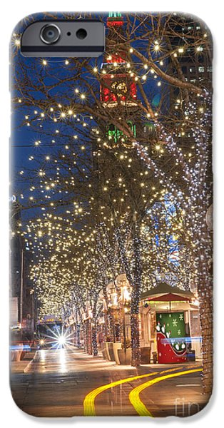 Night Lamp iPhone Cases - 16th Street Mall in Denver Holiday Time iPhone Case by Juli Scalzi