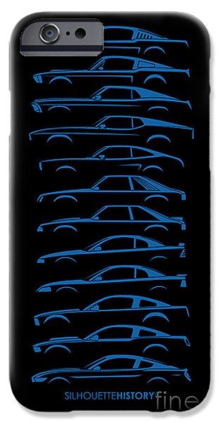 Ford Mustang iPhone Cases - Ford Mustang SilhouetteHistory iPhone Case by Gabor Vida