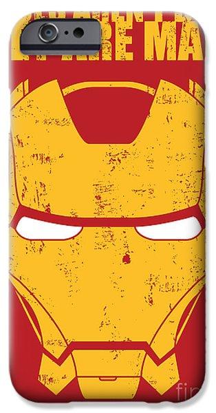 Geometric Artwork iPhone Cases - Iron Man iPhone Case by Caio Caldas