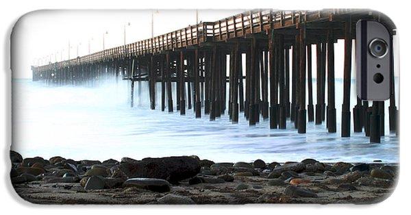Aquatic Pastels iPhone Cases - Ocean Wave Storm Pier iPhone Case by Henrik Lehnerer