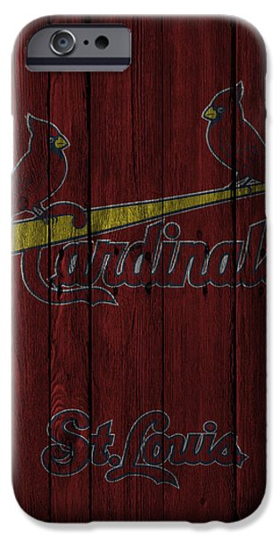Baseball Glove iPhone Cases - St Louis Cardinals iPhone Case by Joe Hamilton