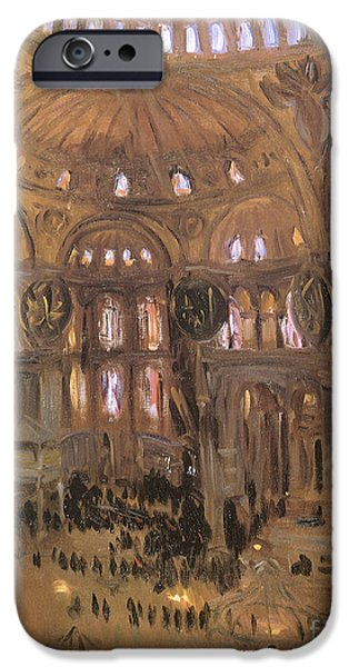 Church Pillars Paintings iPhone Cases - Victorian art piece iPhone Case by Indian Summer