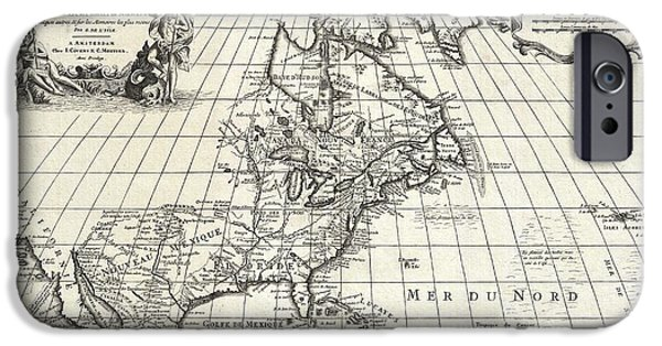 French Open iPhone Cases - 1708 De LIsle Map of North America iPhone Case by Paul Fearn
