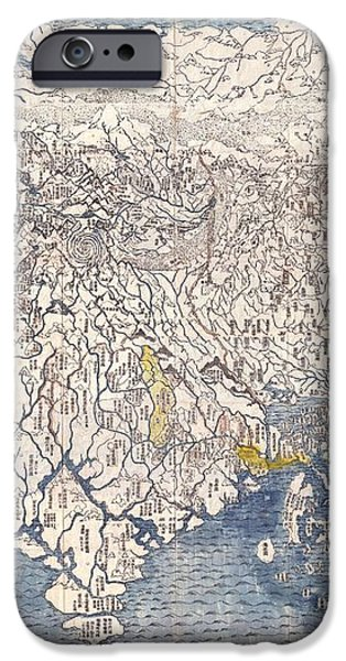 1710 First Japanese Buddhist Map of the World Showing Europe America and Africa iPhone Case by Paul Fearn