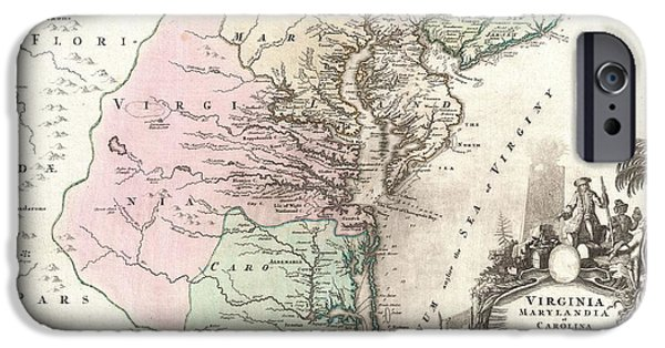 Fish On A Reef iPhone Cases - 1715 Homann Map of Carolina Virginia Maryland and New Jersey iPhone Case by Paul Fearn