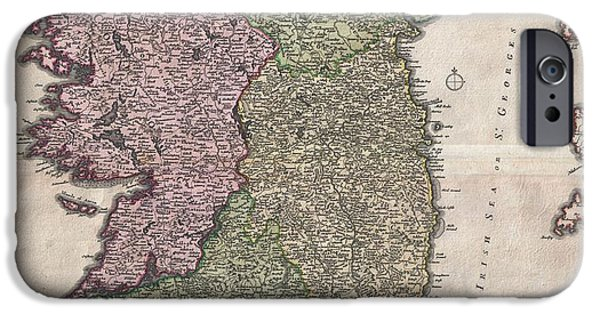 Hallmark iPhone Cases - 1716 Homann Map of Ireland iPhone Case by Paul Fearn
