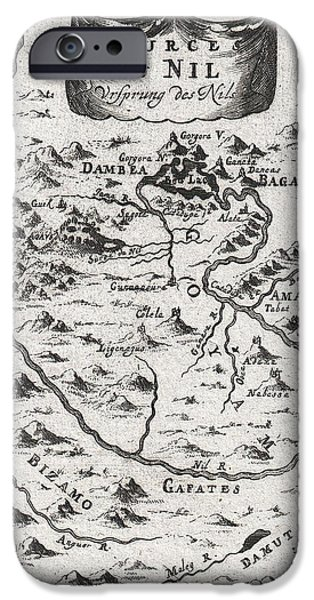 1719 Mallet Map of the Source of the Nile Ethiopia iPhone Case by Paul Fearn