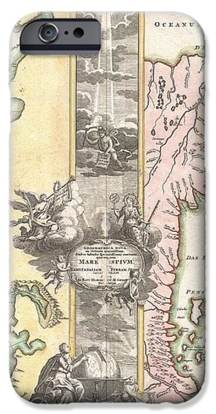 1725 Homann Map of the Caspian Sea and Kamchatka iPhone Case by Paul Fearn