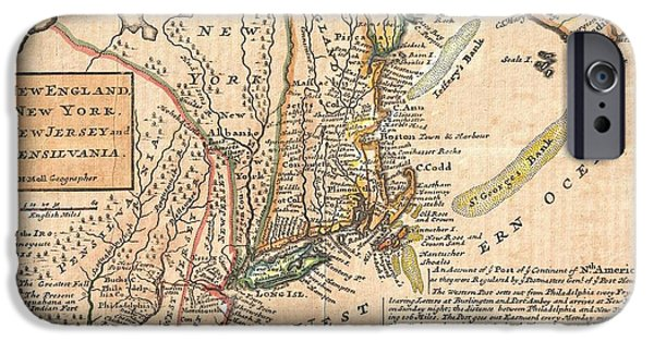 Not In Service iPhone Cases - 1729 Moll Map of New York New England and Pennsylvania  iPhone Case by Paul Fearn