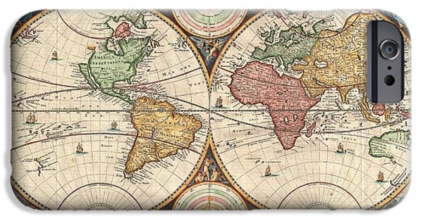 Live And Learn iPhone Cases - 1730 Stoopendaal Map of the World in two Hemispheres  iPhone Case by Paul Fearn