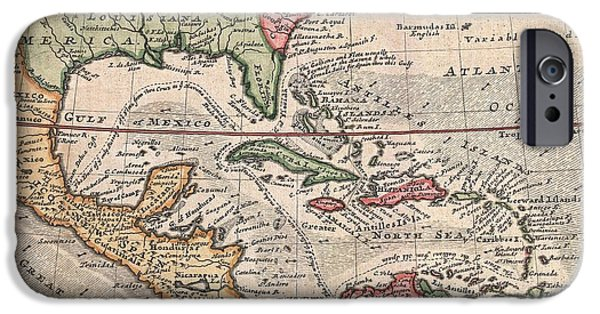 To Dominate iPhone Cases - 1732 Herman Moll Map of the West Indies and Caribbean iPhone Case by Paul Fearn
