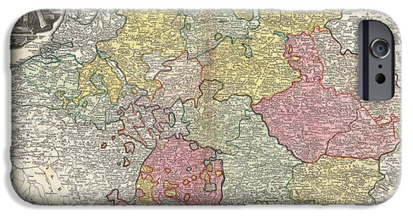 To Dominate iPhone Cases - 1740 Homann Map of the Holy Roman Empire iPhone Case by Paul Fearn