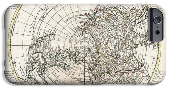 To Dominate iPhone Cases - 1741 Covens and Mortier Map of the Northern Hemisphere  North Pole Arctic iPhone Case by Paul Fearn
