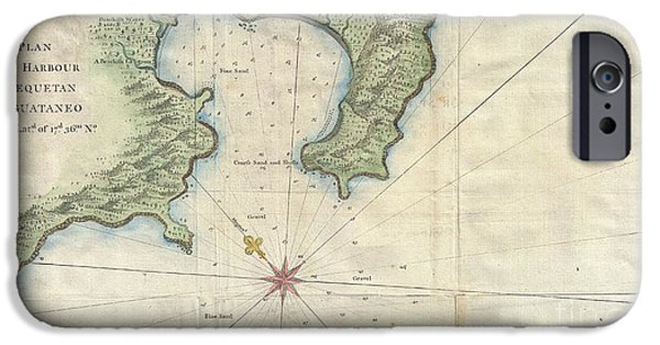 To Dominate iPhone Cases - 1745 Anson Map or Chart of Zihuatanejo Harbor Mexico iPhone Case by Paul Fearn