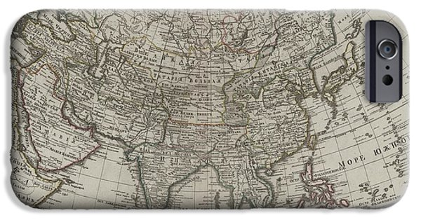 Jordan Mixed Media iPhone Cases - 1745 Asia Map iPhone Case by Dan Sproul