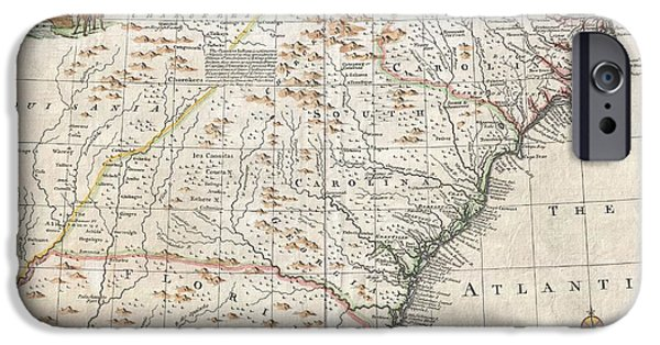 To Dominate iPhone Cases - 1747 Bowen Map of the Southeastern United States Carolina Georgia Florida iPhone Case by Paul Fearn