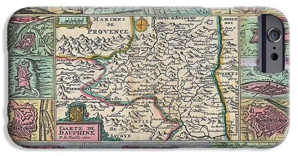 Dr. J iPhone Cases - 1747 La Feuille Map of Dauphine  iPhone Case by Paul Fearn