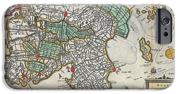 Ply iPhone Cases - 1747 La Feuille Map of Northern Holland iPhone Case by Paul Fearn