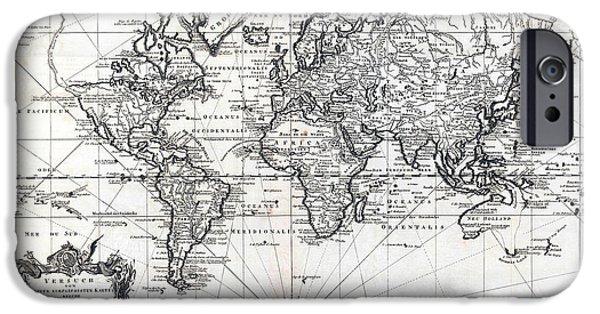 Antiques iPhone Cases - 1748 Antique World Map Versuch von einer Kurzgefassten Karte  iPhone Case by Karon Melillo DeVega