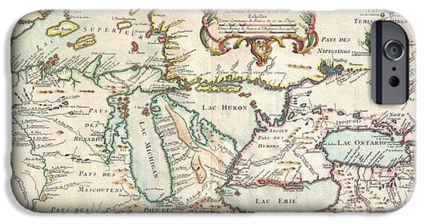 To Dominate iPhone Cases - 1755 Bellin Map of the Great Lakes iPhone Case by Paul Fearn