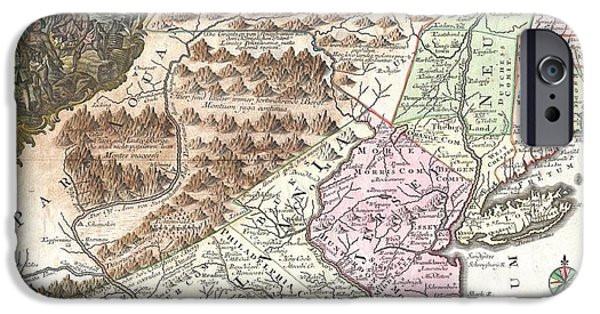 Etc... iPhone Cases - 1756 Lotter Map of Pennsylvania New Jersey and New York iPhone Case by Paul Fearn