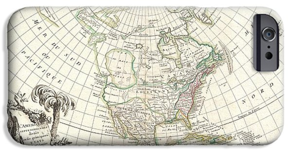 To Dominate iPhone Cases - 1762 Janvier Map of North America  iPhone Case by Paul Fearn