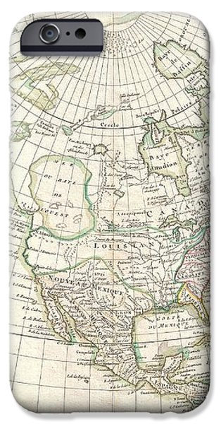 1762 Janvier Map of North America  iPhone Case by Paul Fearn