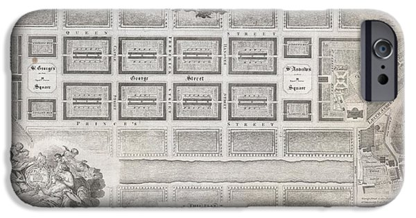 Enliven iPhone Cases - 1768 James Craig Map of New Town Edinburgh Scotland  iPhone Case by Paul Fearn