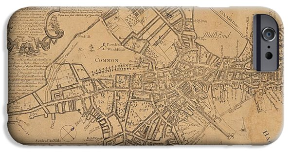 Revolutionary War Mixed Media iPhone Cases - 1769 Boston Massachusetts Map iPhone Case by Dan Sproul