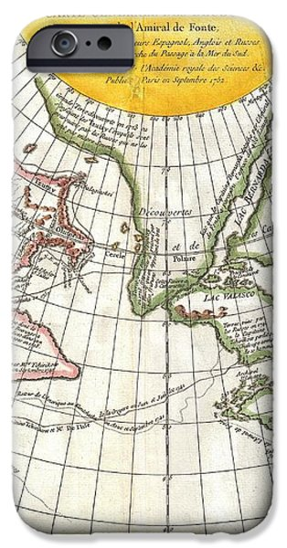 1772 Vaugondy and Diderot Map of the Pacific Northwest and the Northwest Passage iPhone Case by Paul Fearn