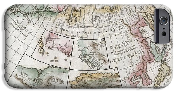First Term iPhone Cases - 1772 Vaugondy  Diderot Map of Asia Alaska and the Northeast Passage iPhone Case by Paul Fearn