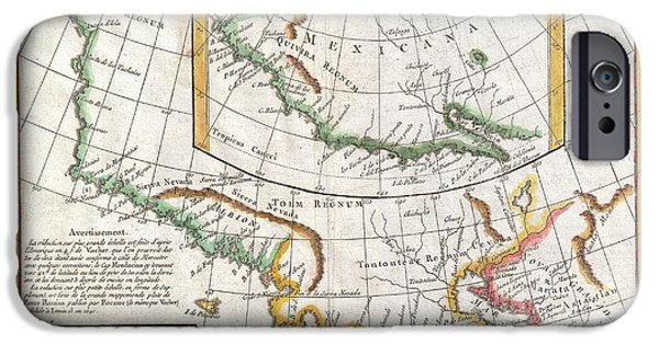 First Term iPhone Cases - 1772 Vaugondy  Diderot Map of California and Alaska  Anian and Quivira  iPhone Case by Paul Fearn
