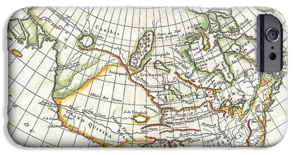 First Term iPhone Cases - 1772 Vaugondy  Diderot Map of North America and the Northwest Passage iPhone Case by Paul Fearn