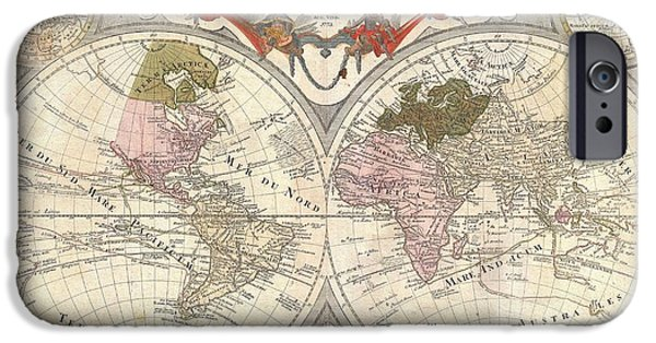 To Dominate iPhone Cases - 1775 Lotter Map of the World on a Hemisphere Projection iPhone Case by Paul Fearn