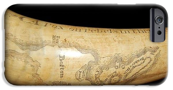 World War One iPhone Cases - 1775 Scrimshaw Map of Boston Carved on Revolutionary War Powder Horn iPhone Case by Paul Fearn