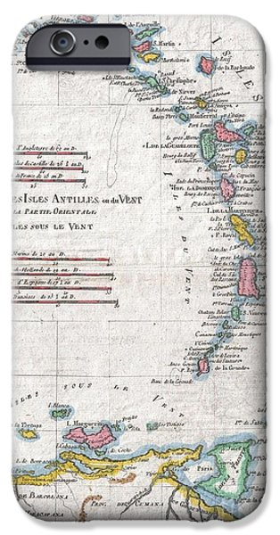 St Margarita iPhone Cases - 1780 Raynal and Bonne Map of Antilles Islands iPhone Case by Paul Fearn