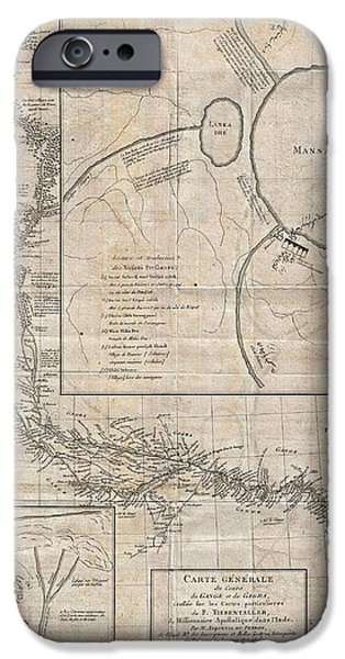 1784 Tiefenthaler Map of the Ganges and Ghaghara Rivers India iPhone Case by Paul Fearn