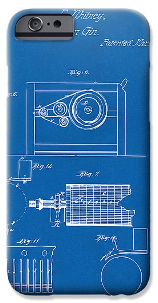 Printed Cotton iPhone Cases - 1794 Eli Whitney Cotton Gin Patent 2 Blueprint iPhone Case by Nikki Marie Smith