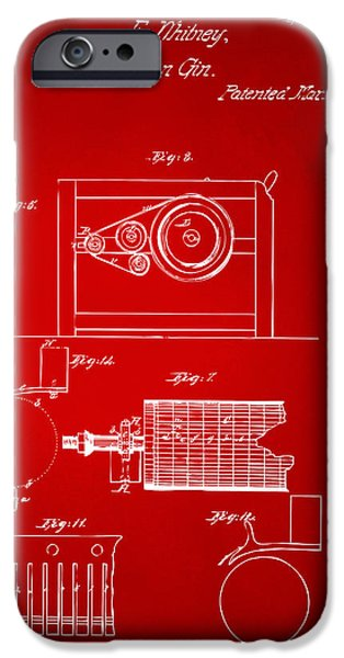 Printed Cotton iPhone Cases - 1794 Eli Whitney Cotton Gin Patent 2 Red iPhone Case by Nikki Marie Smith