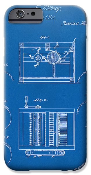 Printed Cotton iPhone Cases - 1794 Eli Whitney Cotton Gin Patent Blueprint iPhone Case by Nikki Marie Smith