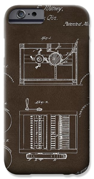 Printed Cotton iPhone Cases - 1794 Eli Whitney Cotton Gin Patent Espresso iPhone Case by Nikki Marie Smith