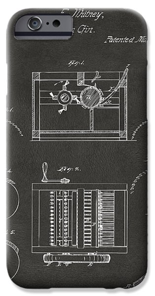 Printed Cotton iPhone Cases - 1794 Eli Whitney Cotton Gin Patent Gray iPhone Case by Nikki Marie Smith
