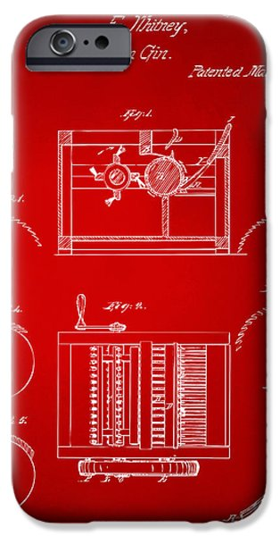 Printed Cotton iPhone Cases - 1794 Eli Whitney Cotton Gin Patent Red iPhone Case by Nikki Marie Smith