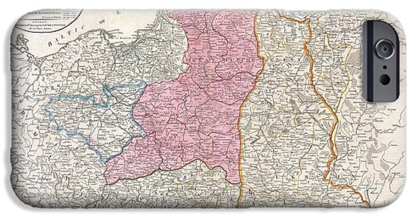 Against The War iPhone Cases - 1794 Laurie and Whittle Map of Poland and Lithuania after Second Partition iPhone Case by Paul Fearn