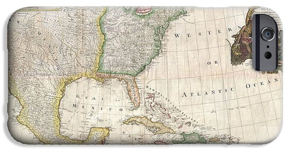 Temperament iPhone Cases - 1794 Pownell Wall Map of North America and the West Indies iPhone Case by Paul Fearn