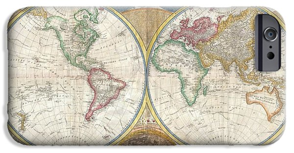 Winter In Maine iPhone Cases - 1794 Samuel Dunn Wall Map of the World in Hemispheres iPhone Case by Paul Fearn