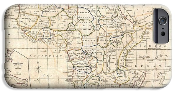 Finds A Way iPhone Cases - 1799 Clement Cruttwell Map of Africa  iPhone Case by Paul Fearn