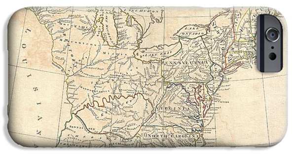 To Dominate iPhone Cases - 1799 Cruttwell Map of the United States of America iPhone Case by Paul Fearn