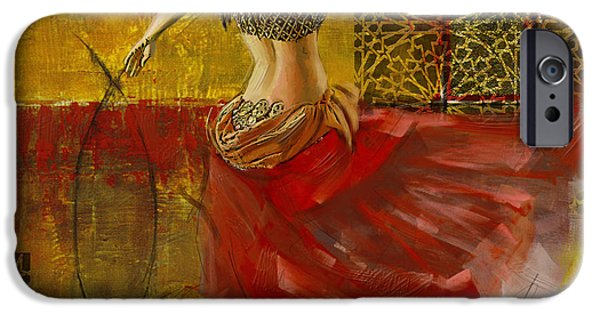 Moroccan iPhone Cases - Abstract Belly Dancer 6 iPhone Case by Corporate Art Task Force