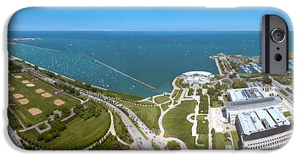 Soldier Field Photographs iPhone Cases - 180 Degree View Of A City, Lake iPhone Case by Panoramic Images
